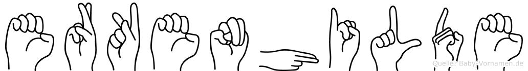 Erkenhilde im Fingeralphabet der Deutschen Gebärdensprache
