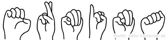 Ermina im Fingeralphabet der Deutschen Gebärdensprache