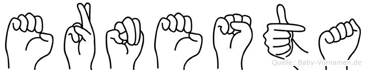 Ernesta im Fingeralphabet der Deutschen Gebärdensprache