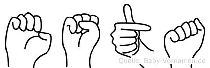 Esta im Fingeralphabet der Deutschen Gebärdensprache