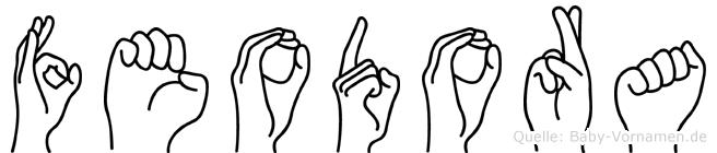 Feodora im Fingeralphabet der Deutschen Gebärdensprache