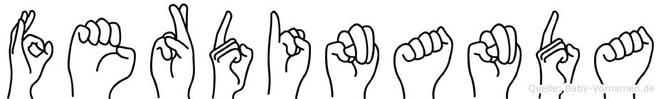 Ferdinanda im Fingeralphabet der Deutschen Gebärdensprache