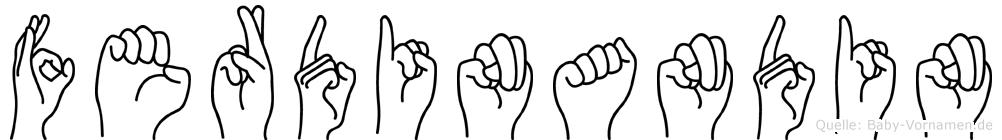 Ferdinandin im Fingeralphabet der Deutschen Gebärdensprache