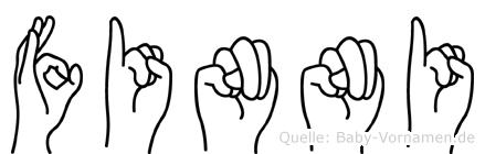 Finni im Fingeralphabet der Deutschen Gebärdensprache