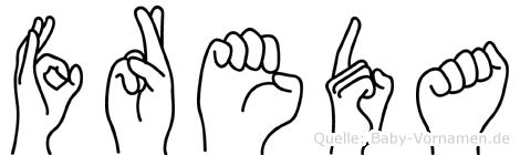 Freda in Fingersprache für Gehörlose