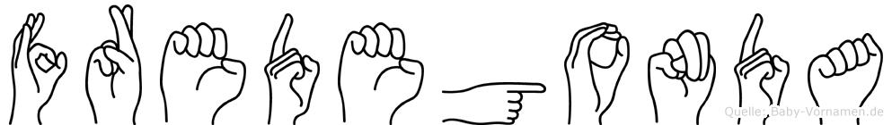 Fredegonda im Fingeralphabet der Deutschen Gebärdensprache