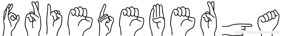 Friedeberga im Fingeralphabet der Deutschen Gebärdensprache