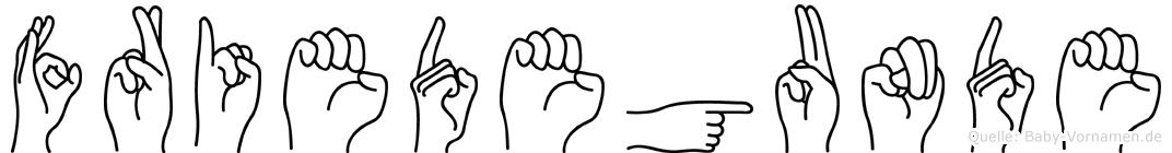 Friedegunde im Fingeralphabet der Deutschen Gebärdensprache