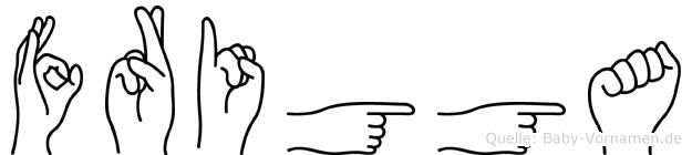 Frigga im Fingeralphabet der Deutschen Gebärdensprache