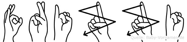 Frizzi im Fingeralphabet der Deutschen Gebärdensprache