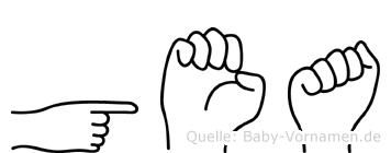 Gea im Fingeralphabet der Deutschen Gebärdensprache