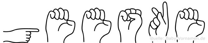 Geeske im Fingeralphabet der Deutschen Gebärdensprache