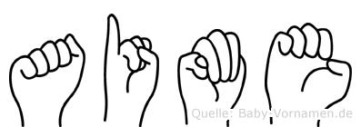 Aime im Fingeralphabet der Deutschen Gebärdensprache