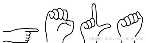 Gela im Fingeralphabet der Deutschen Gebärdensprache