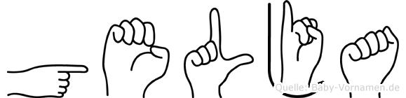 Gelja im Fingeralphabet der Deutschen Gebärdensprache
