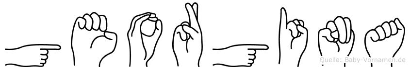 Georgina im Fingeralphabet der Deutschen Gebärdensprache