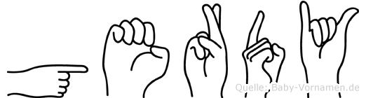 Gerdy im Fingeralphabet der Deutschen Gebärdensprache