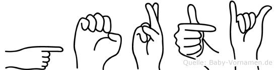 Gerty im Fingeralphabet der Deutschen Gebärdensprache