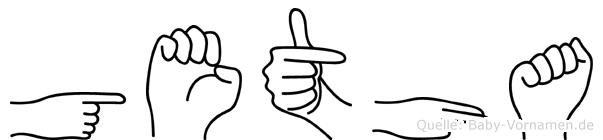 Getha im Fingeralphabet der Deutschen Gebärdensprache