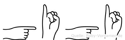 Gigi im Fingeralphabet der Deutschen Gebärdensprache