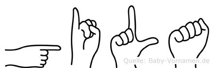 Gila im Fingeralphabet der Deutschen Gebärdensprache