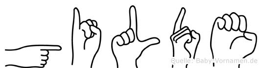 Gilde im Fingeralphabet der Deutschen Gebärdensprache