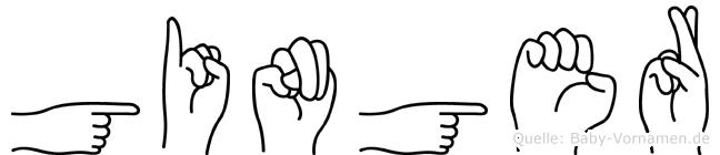 Ginger im Fingeralphabet der Deutschen Gebärdensprache