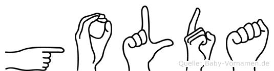 Golda im Fingeralphabet der Deutschen Gebärdensprache