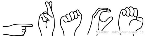 Grace im Fingeralphabet der Deutschen Gebärdensprache