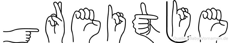 Greitje im Fingeralphabet der Deutschen Gebärdensprache
