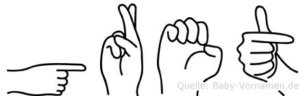 Gret in Fingersprache für Gehörlose