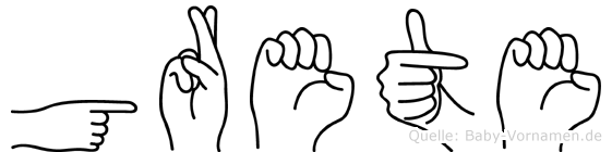 Grete im Fingeralphabet der Deutschen Gebärdensprache