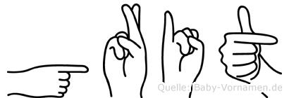 Grit im Fingeralphabet der Deutschen Gebärdensprache