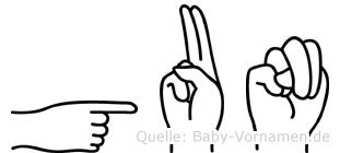 Gun in Fingersprache für Gehörlose