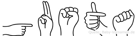 Gusta im Fingeralphabet der Deutschen Gebärdensprache