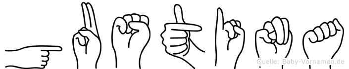 Gustina im Fingeralphabet der Deutschen Gebärdensprache