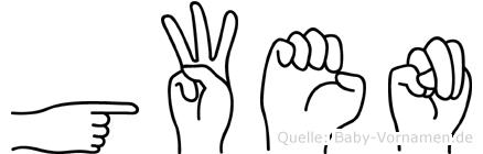 Gwen in Fingersprache für Gehörlose