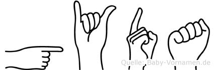 Gyda im Fingeralphabet der Deutschen Gebärdensprache