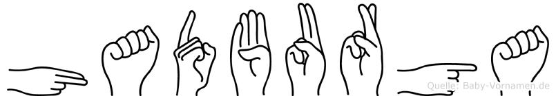 Hadburga im Fingeralphabet der Deutschen Gebärdensprache