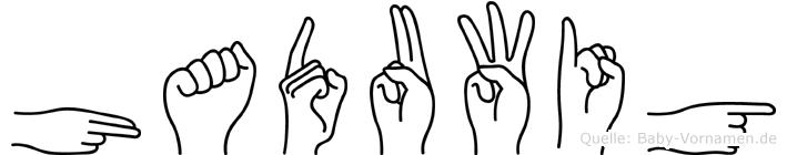 Haduwig im Fingeralphabet der Deutschen Gebärdensprache
