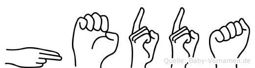 Hedda im Fingeralphabet der Deutschen Gebärdensprache