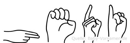 Hedi im Fingeralphabet der Deutschen Gebärdensprache