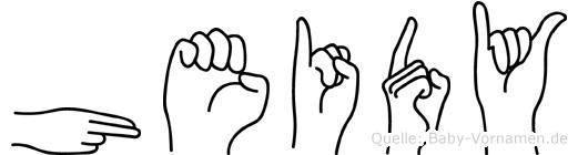 Heidy im Fingeralphabet der Deutschen Gebärdensprache