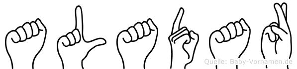 Aladar im Fingeralphabet der Deutschen Gebärdensprache