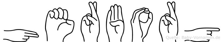 Herborg im Fingeralphabet der Deutschen Gebärdensprache
