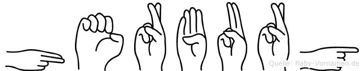 Herburg im Fingeralphabet der Deutschen Gebärdensprache