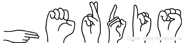 Herdis im Fingeralphabet der Deutschen Gebärdensprache
