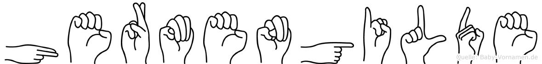 Hermengilde im Fingeralphabet der Deutschen Gebärdensprache