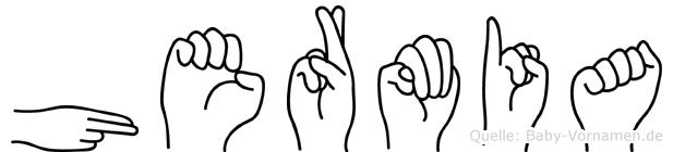 Hermia im Fingeralphabet der Deutschen Gebärdensprache