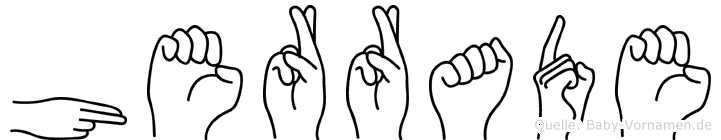 Herrade im Fingeralphabet der Deutschen Gebärdensprache